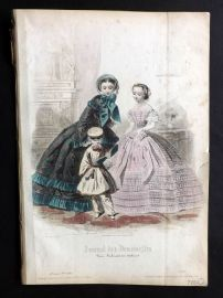 Journal des Demoiselles C1850 Antique Hand Col Fashion Print 77